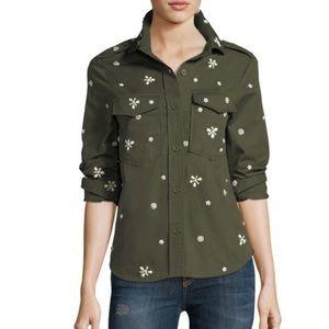 NWT Joie Hayfa Beaded Army Shirt Jacket Sz XXS